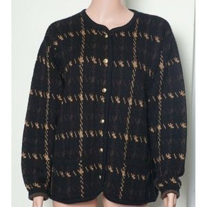 Woman's Black Sweater with Brown and Tan Pattern